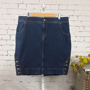 Lane Bryant Button Detail Denim Skirt Blue 18